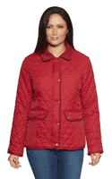 Womens Diamond Quilted Cord Trim Berry Red Jacket db654